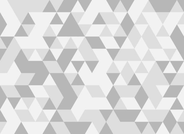 white and grey triangle tiles texture, seamless pattern background. illustration - geometry stock photos and pictures