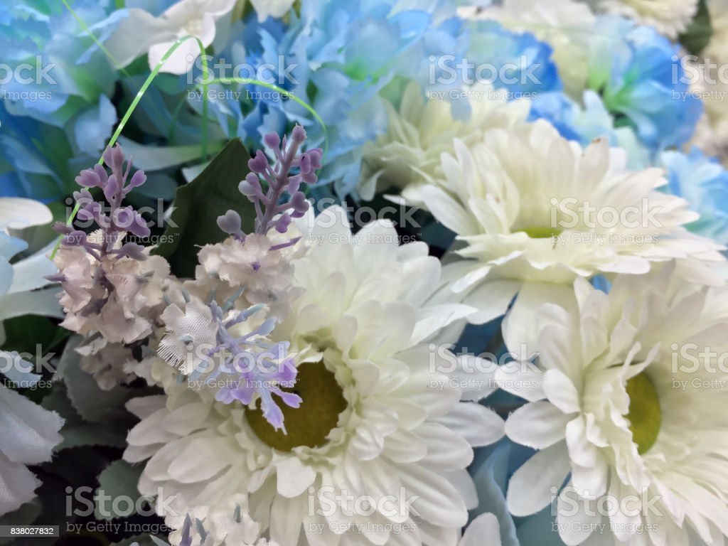 White And Light Blue Color Of Flower Bouquet All Of It Made From