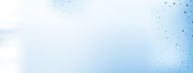 istock White and light blue medical abstract gradient background with molecules - web banner 876037556