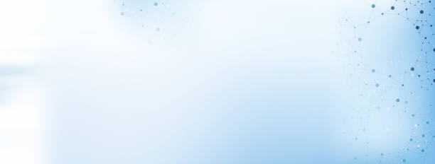 White and light blue medical abstract gradient background with molecules - web banner stock photo