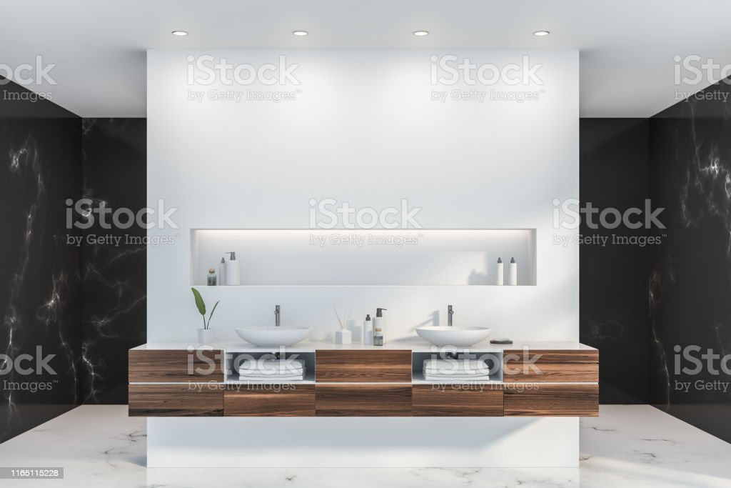 White And Marble Bathroom Interior Double Sink Stock Photo Download Image Now Istock