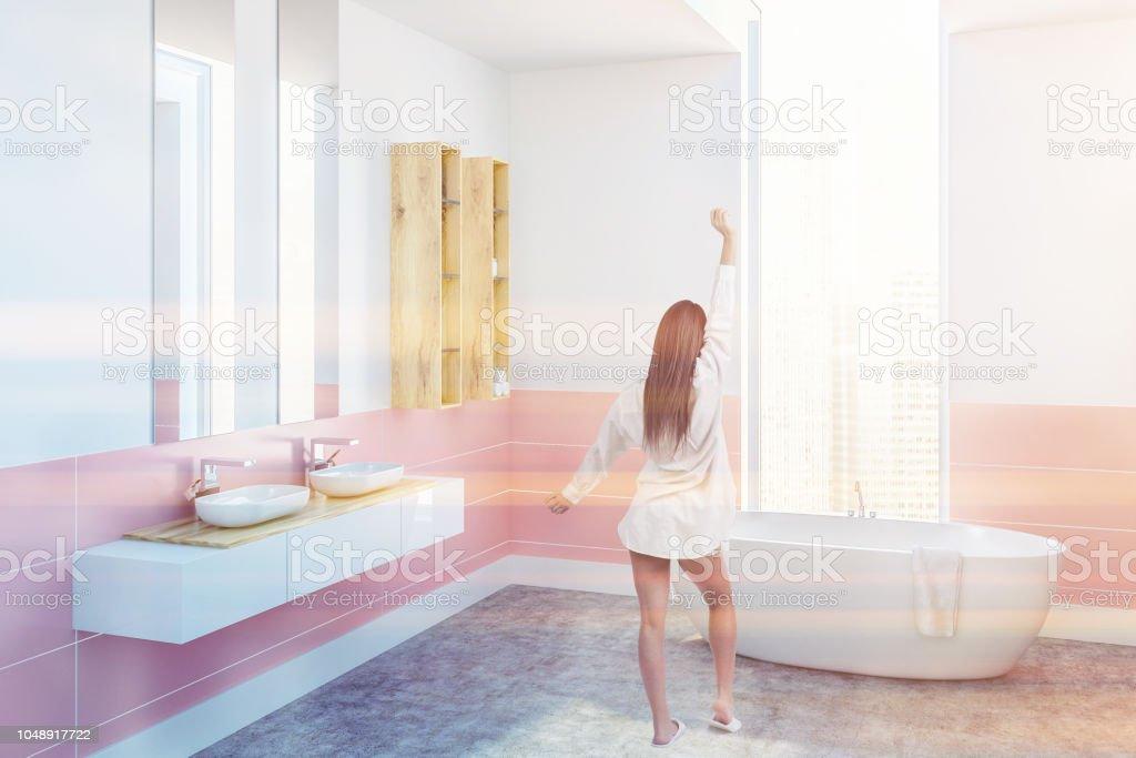 Photo libre de droit de Coin Salle De Bain Blanc Et Rose ...