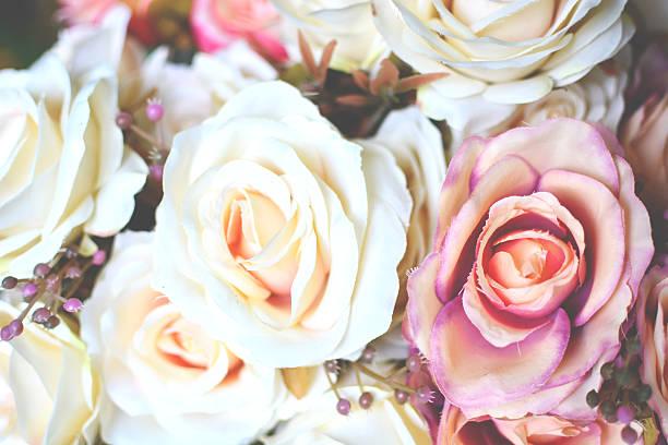 white and pink flowers vintage - meerdere lagen effect stockfoto's en -beelden
