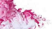 水でインクの白とピンク
