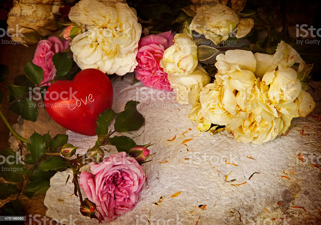 white and pink roses, red heart, handmade paper, stock photo