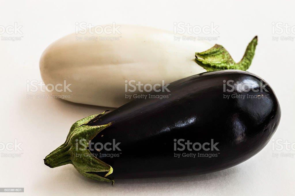 White and purple eggplant stock photo