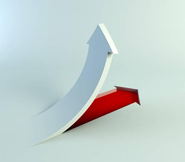white and red arrow pointing upward - spetsig vinkel bildbanksfoton och bilder