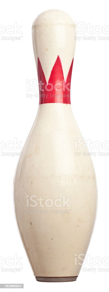 White and red bowling pin isolated on white background stock photo
