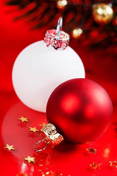 white and red christmas balls - cue ball stock pictures, royalty-free photos & images