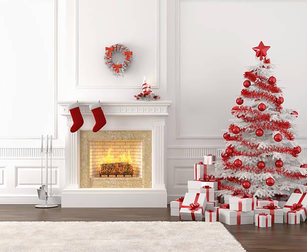 weiße und rote weihnachten kamin innen - kamin weiß stock-fotos und bilder