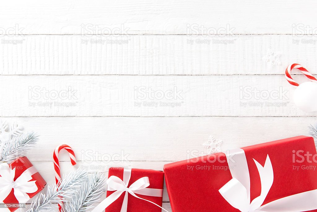 White and red Christmas theme background stock photo