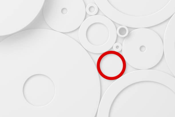 3D White And Red Circles Abstract Background stock photo
