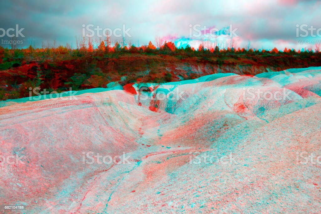 White and red contrast soil 3d anaglyph. stock photo