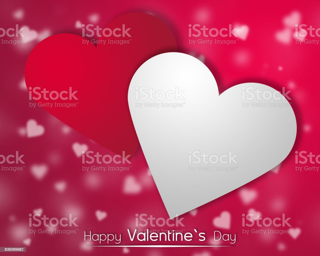 White and red hearts on a red backgroung with dispersed little hearts. stock photo