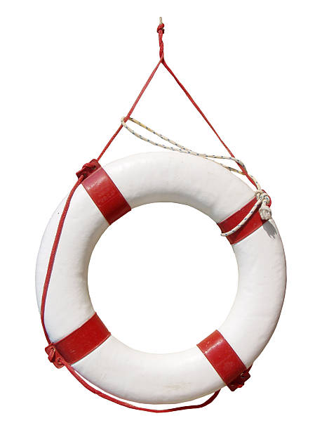 White and red life buoy hanging up stock photo