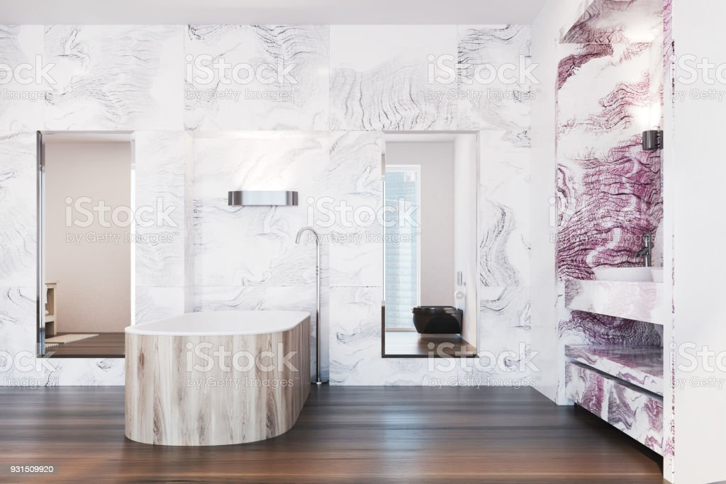 White And Red Marble Bathroom Interior Stock Photo Download Image Now Istock