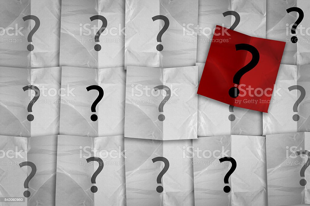 white and red paper pad with question mark symbol stock photo