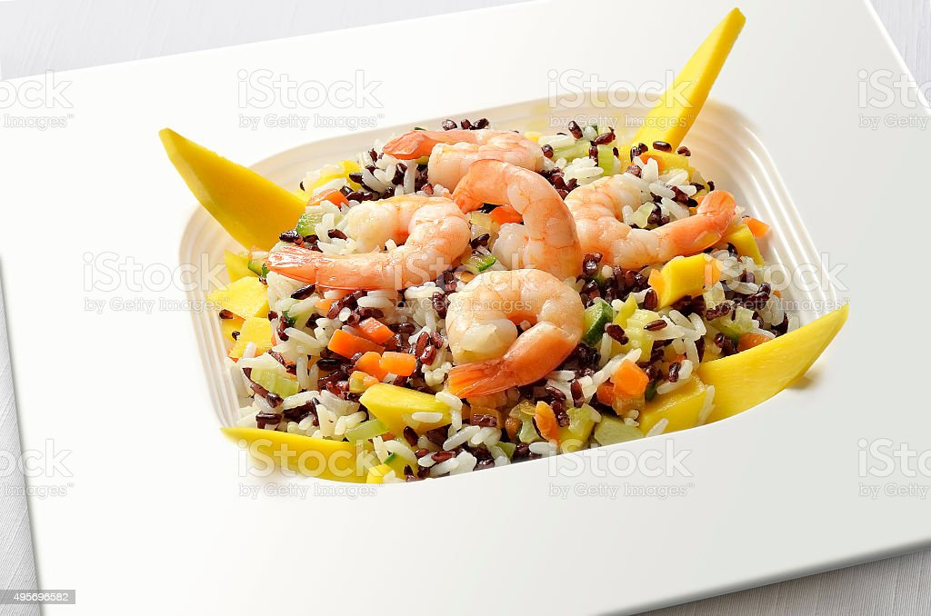White and Red Rice salad stock photo