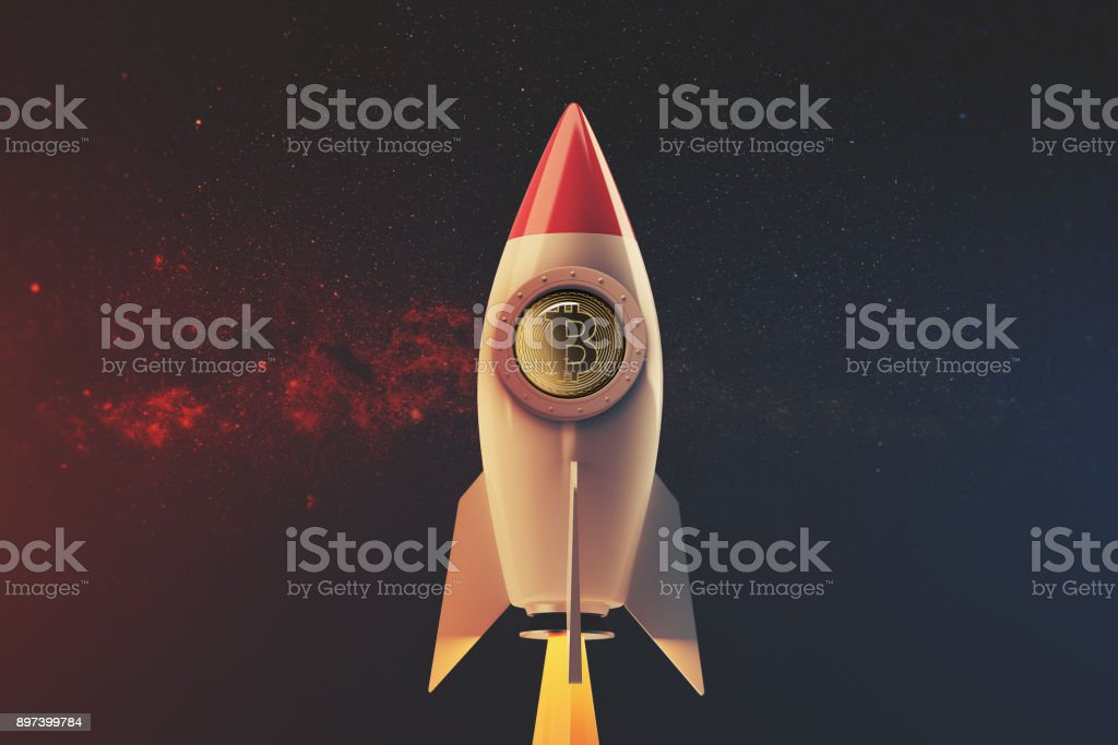 White and red rocket in space stock photo
