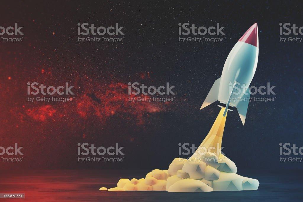 Weiße und rote Rakete abheben – Foto