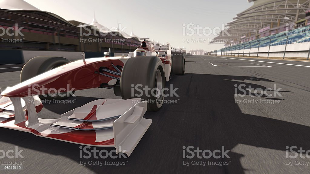 A white and red formula one race car royalty-free stock photo
