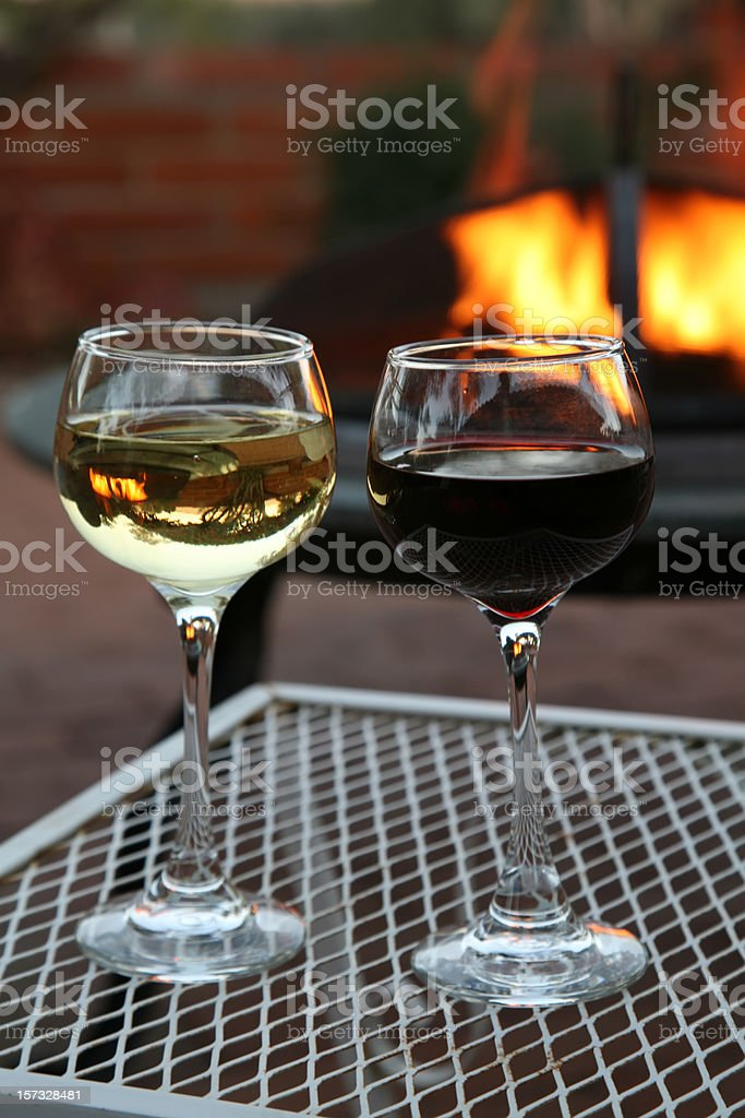 White And Red Wine Around The Backyard Fire Pit royalty-free stock photo