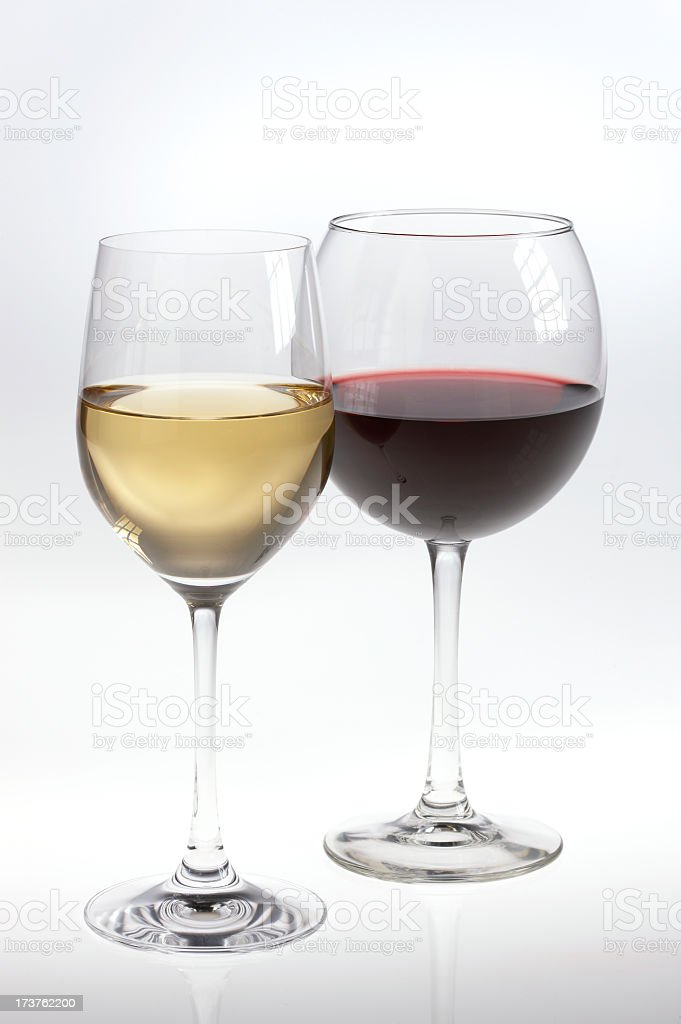 White and red wine glasses stock photo