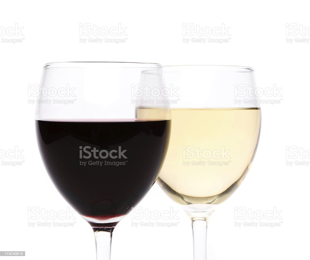 White and red wine glasses royalty-free stock photo