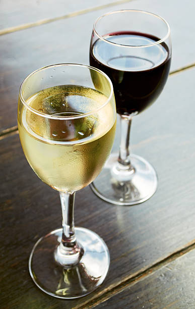White and red wine glasses. stock photo