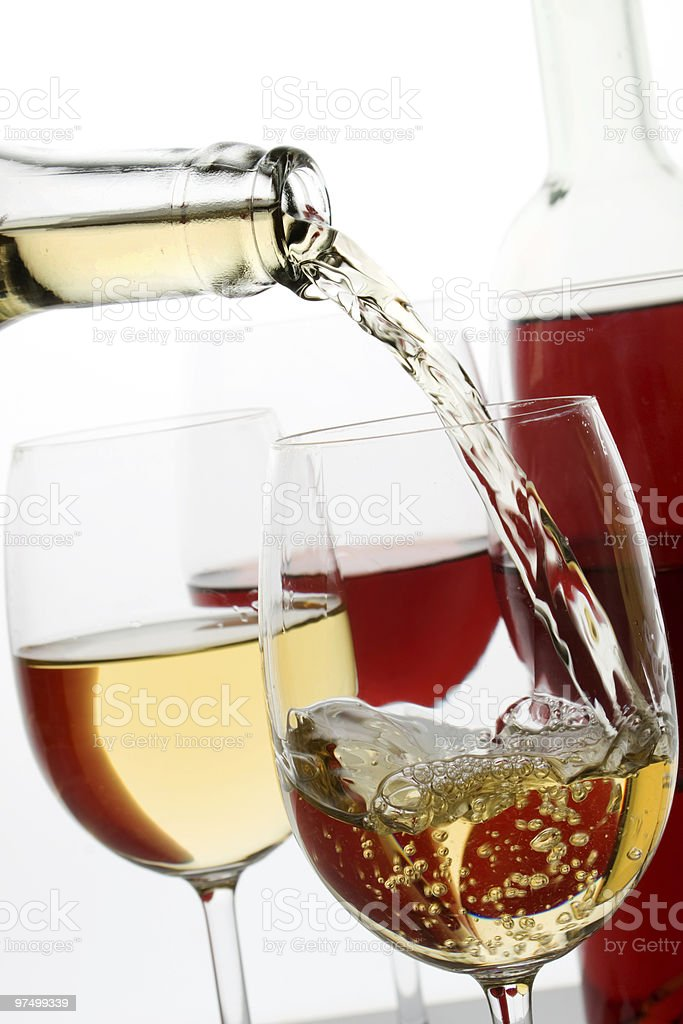 White and red wine royalty-free stock photo