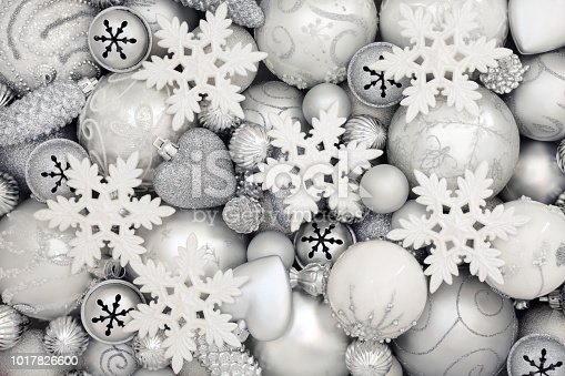 istock White and Silver Christmas Bauble Decorations 1017826600