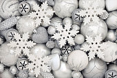 White and Silver Christmas Bauble Decorations