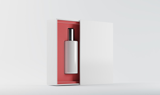 istock White and silver perfume bottle in red and white box 613657820