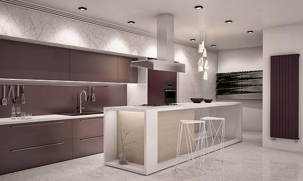 weiß und lila farben, moderne küche kamera 1. abend - küche deko lila stock-fotos und bilder