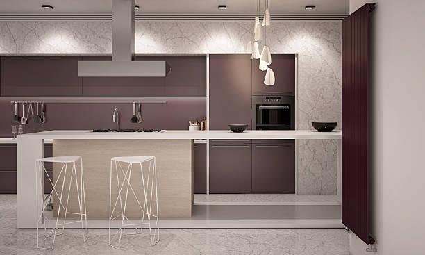 weiß und lila farben moderne küche kamera 2 am abend - küche lila stock-fotos und bilder
