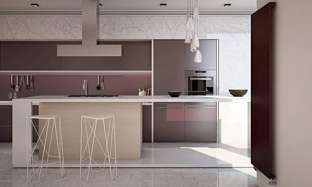 weiß und lila farben, moderne küche kamera 2 - küche lila stock-fotos und bilder