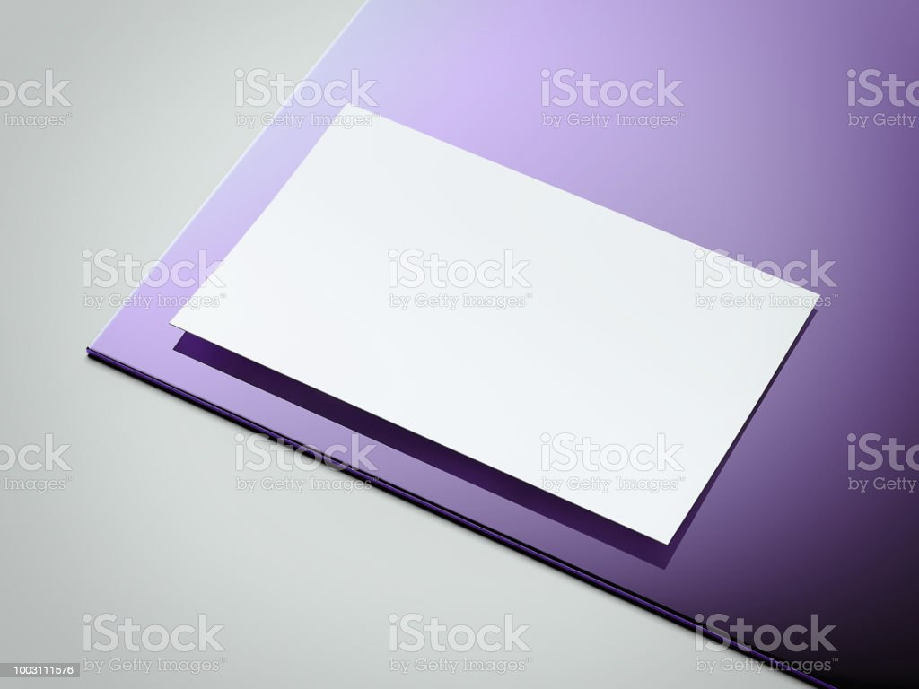 White and violet paper sheet on light gray background, 3d rendering. stock photo