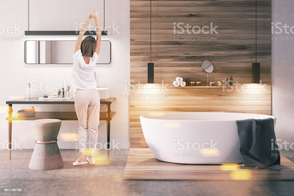 White and wooden bathroom toned stock photo