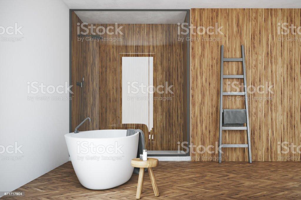Weiss Und Holz Bad Weisse Wanne Dusche Stockfoto Und Mehr