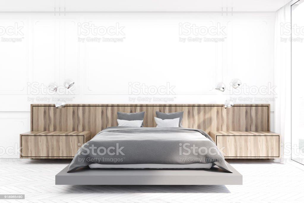 Weiß Und Holz Schlafzimmer Graue Bett Stockfoto und mehr ...