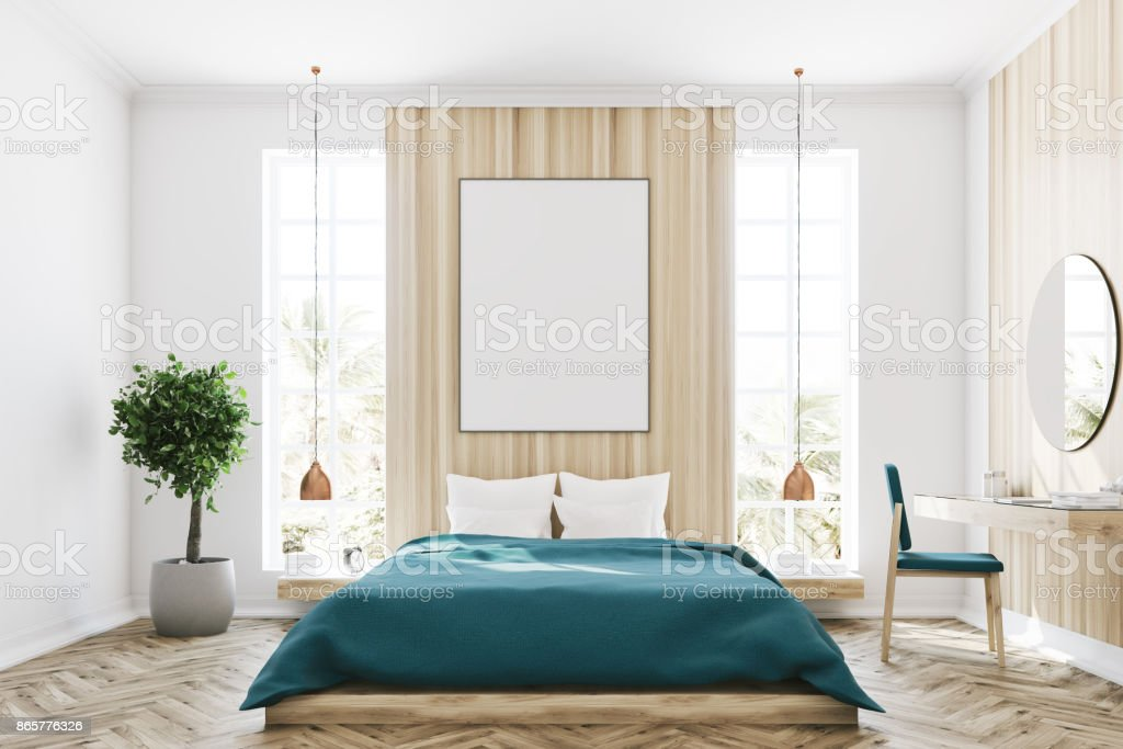 White and wooden bedroom, poster stock photo