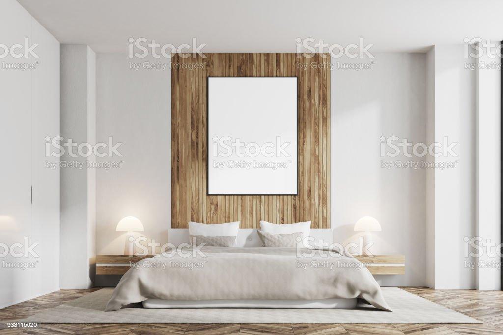 Weiß Und Holz Schlafzimmer Vertikale Poster Vorne Stockfoto ...