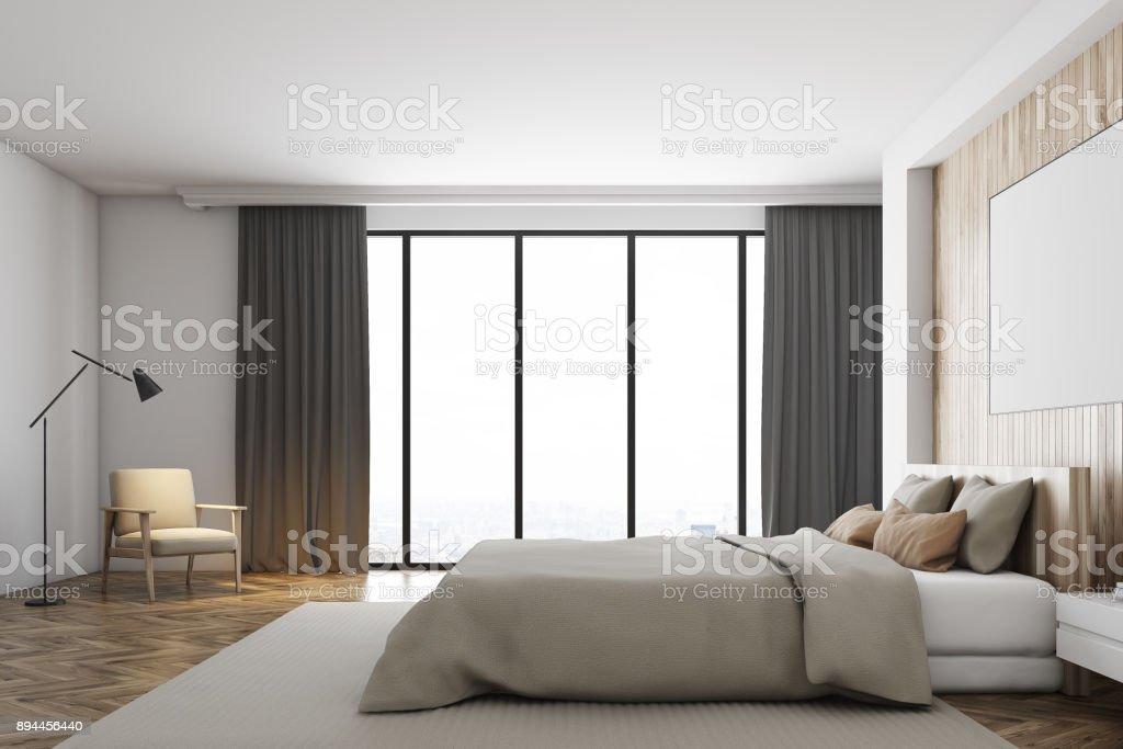 Weiß Und Holz Schlafzimmer Fenster Plakat Seite Stockfoto ...