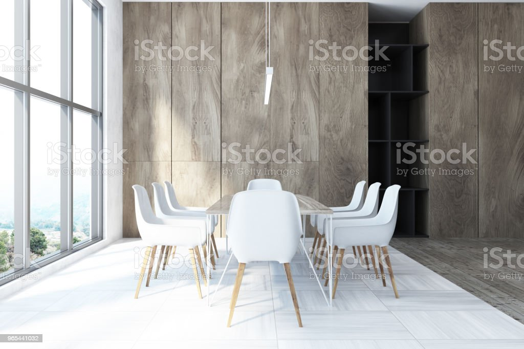 White and wooden dining room, side view zbiór zdjęć royalty-free