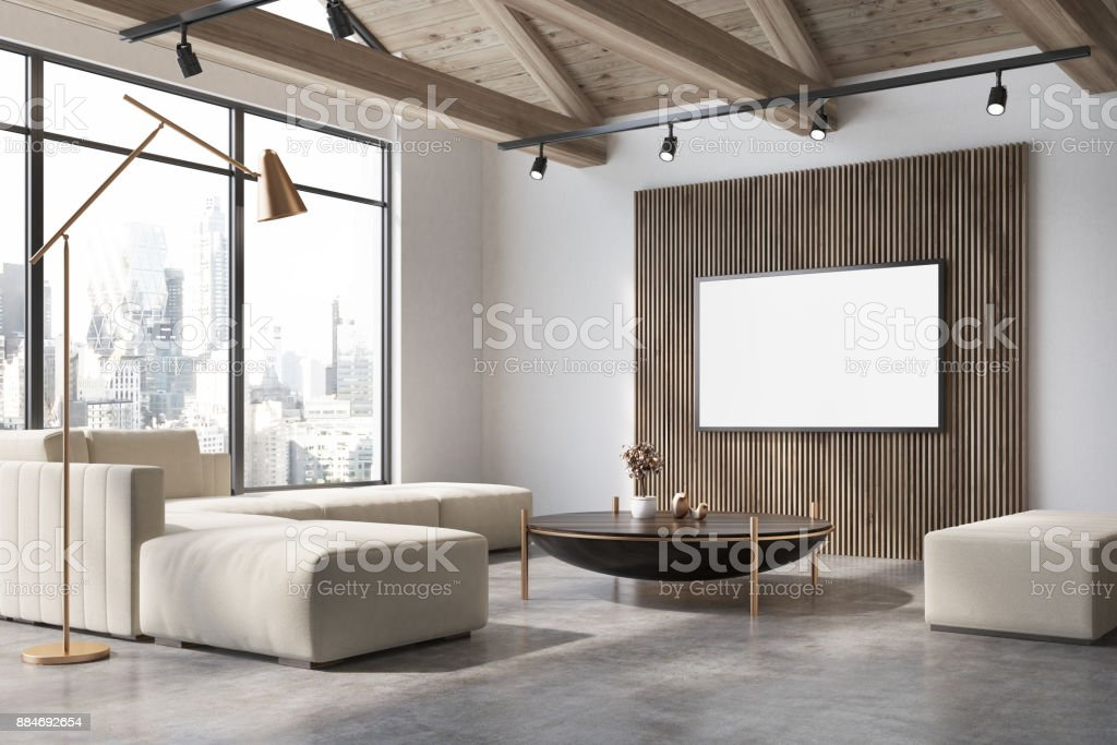 White and wooden living room corner, poster, sofa stock photo
