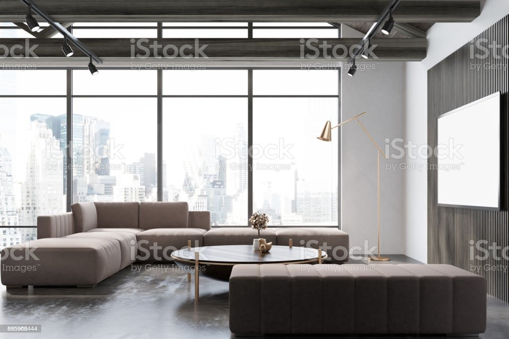 White and wooden living room, poster stock photo