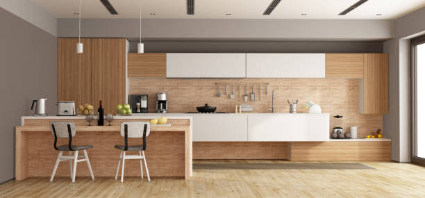 White and wooden modern kitchen stock photo