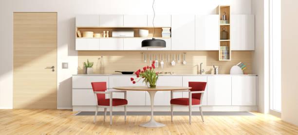 weiß, aus holz und moderne küche - küche italienisch gestalten stock-fotos und bilder