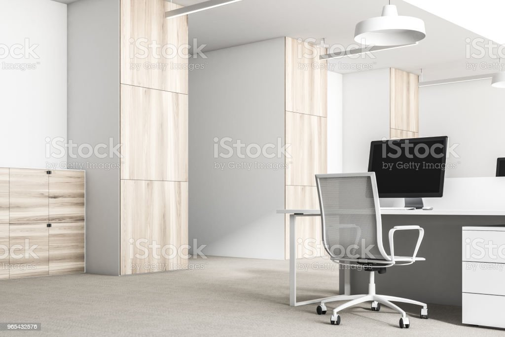 White and wooden office corner close up royalty-free stock photo