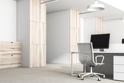흰색과 나무 사무실 코너를 닫습니다 0명에 대한 스톡 사진 및 기타 이미지